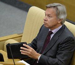 Председатель комитета Государственной Думы РФ по международным делам Алексей Пушков на пленарном заседании. Архивное фото