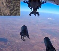 Удар российский авиации по боевикам в Сирии — вид с самолета