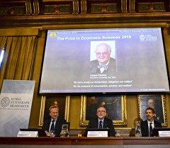 Объявление англо-американского ученого Энгуса Дитона победителем нобелевской премии по экономике.