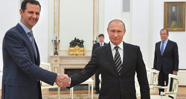 Президент России Владимир Путин и президент Сирии Башар Асад во время встречи в Кремле.
