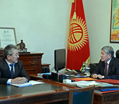 Президент Кыргызской Республики Алмазбек Атамбаев принял министра финансов страны Адылбека Касымалиева.