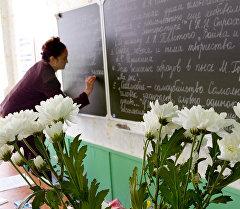 Преподаватель во время урока. Архивное фото