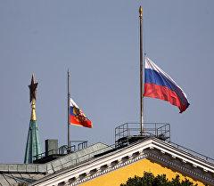 Москва шаарында Россиянын түшүрүлгөн желеги. Архив