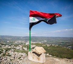 Флаг Сирии над замком. Архивное фото