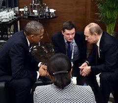 Россия жана АКШ президенттери Владимир Путин менен Барак Обама Жыйырмалык саммитинин жүрүшүндө.