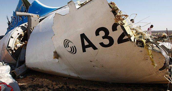 Архивное фото обломков самолета Airbus A321 авиакомпании Когалымавиа, который выполнял рейс 9268 Шарм эш-Шейх - Санкт-Петербург на месте крушения в 100 км от Эль-Ариша на севере Синайского полуострова