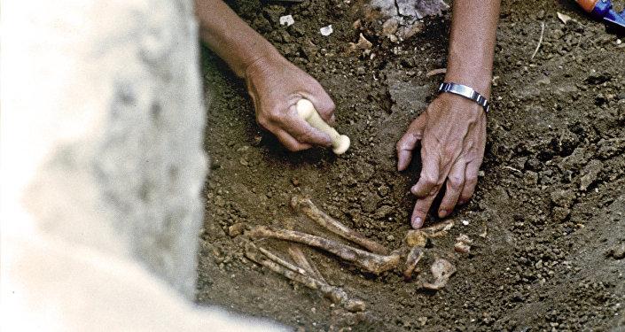 Археолог раскапывает найденные останки древнего человека. Архивное фото