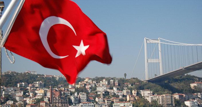 Государственный флаг Турции . Архивное фото