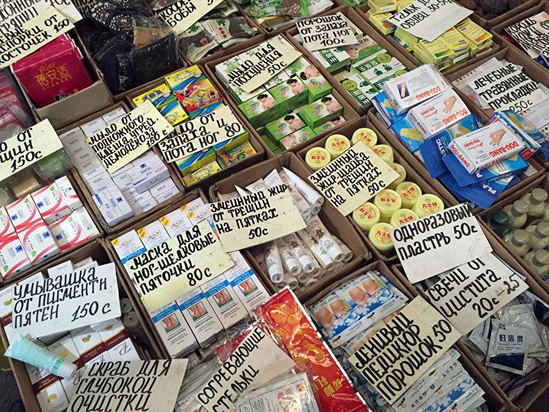 Китайские медицинские препараты на одном из рынков Бишкека.