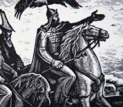 Китептен тартылган Манас баатырдын иллюстрациясы. Архив
