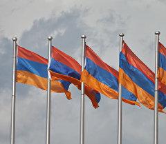 Флаг Армении на флагштоке. Архивное фото