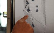 Мужчина показывает на скачки на аппарате сейсмограф. Архивное фото