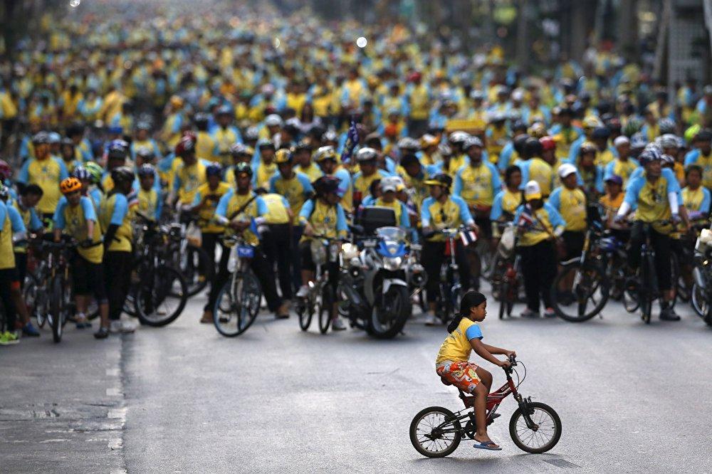Таиландда жашыл-көк футболкачан он миңдеген велосипедчендер Бангкоктун жолдорунан Таиланддын падышасы Пхумипон Адульядеттин 88-туулган күнүн майрамдоонун урматына уюшулган Bike for Dad веложүрүштөн өтүштү