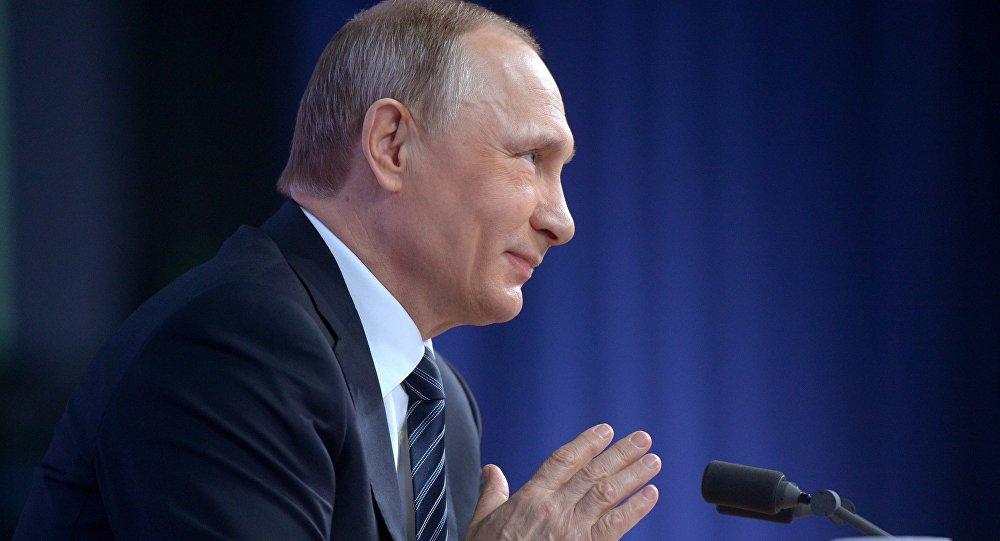 Президент России Владимир Путин на одиннадцатой большой ежегодной пресс-конференции.