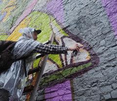 Украшение здания граффити. Архивное фото