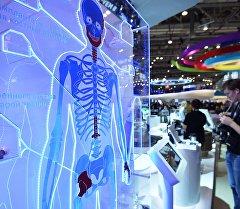 Стенд с искусственным тазобедренным суставом на шоу технологий Открытые инновации в 75-м павильоне ВДНХ.