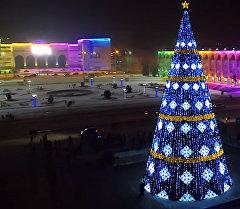 Главная елка Кыргызстана в самом сердце столицы - на площади Ала-Тоо