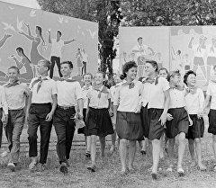 Пионеры в пионерском лагере. Архивное фото