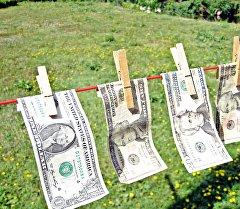 Архивное фото долларов США на сушилке