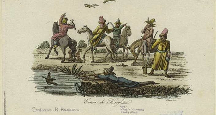 Кыргызы на охоте.