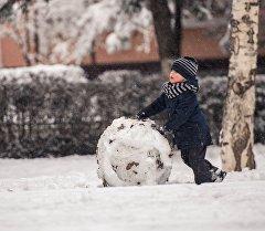 Мальчик лепит снеговик во время снегопада в Бишкеке. Архивное фото