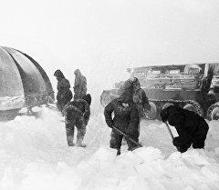 Исследователи Антарктиды строят временную станцию.