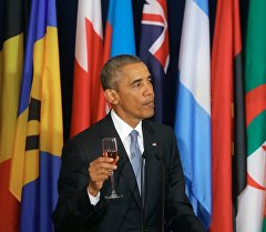 Президент США Барак Обама на официальном завтраке. Архивное фото