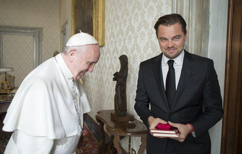 Встреча голливудского актера Леонардо Ди Каприо с папой римским Франциском