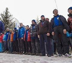 Спортсмены на чемпионате мира по альпинизму 2016 в Кыргызстане.