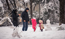 Семья возле снеговика во время снегопада в столице. Архивное фото