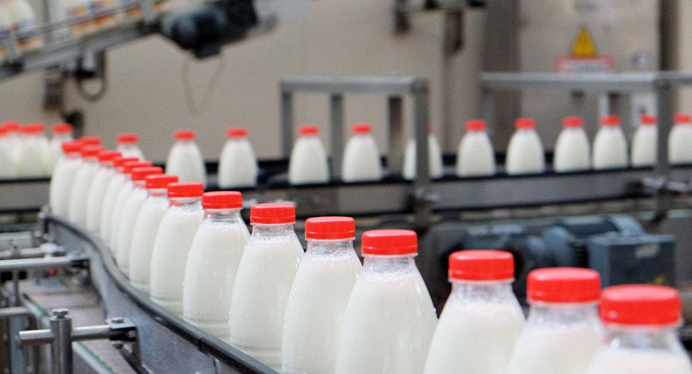 Производственная линия по упаковке молока на молочном заводе. Архивное фото