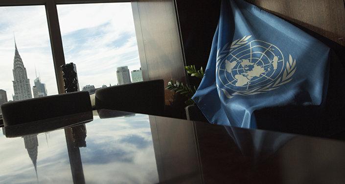 Флаг Организации Объединенных Наций в штаб-квартире ООН в Нью-Йорке. Архивное фото