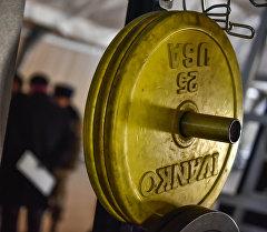 Железный блин в тренажерном зале. Архивное фото