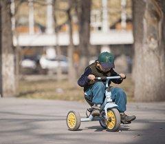 Мальчик катается на трехколесном велосипеде. Архивное фото
