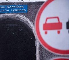 Дорожный знак перед входом в тоннель им.Кольбаева на перевале Тоо-Ашуу. Архивное фото