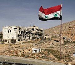 Сирийский флаг на фоне разрушенного дома. Архивное фото
