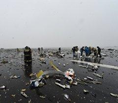 Ростов-на Дону шаарына учуп келген Fly Dubai компаниясына таандык Boeing 737-800 учагы кулап түшкөн жайында сактоочулар.