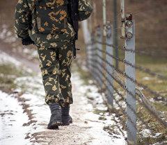 Пограничник на границе. Архивное фото