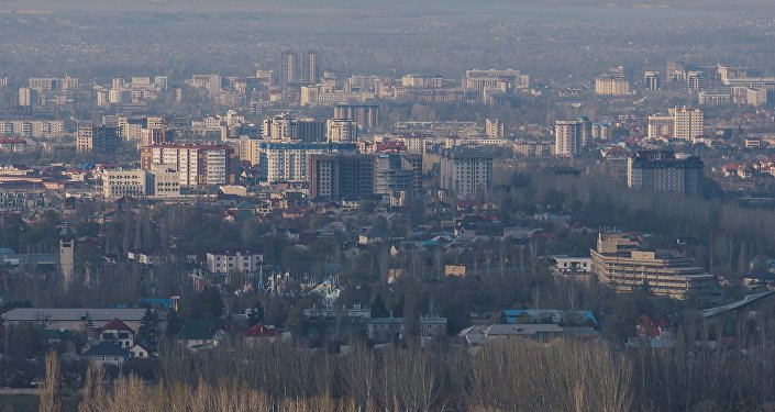 Вид на город Бишкек с горы Бозболток
