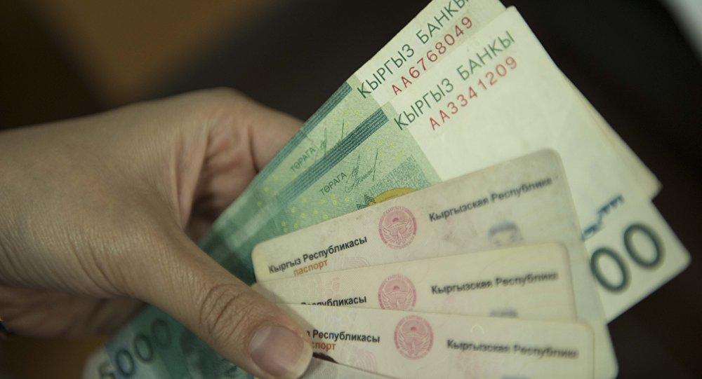 Паспорта гражданина Кыргызской Республики и деньги. Архивное фото