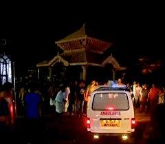 Пожар в храме города Коллам (Индия)