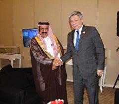 БАЭнин тышкы иштер министринин орун басары ханзада Турки бин Мухаммед бин Сауд аль Кабийр аль Сауд менен КРдин тышкы иштер министри Эрлан Абдылдаевдин жолугушуусунда