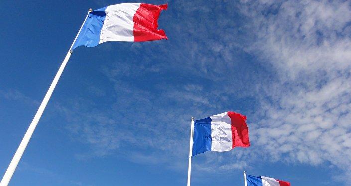 Национальный флаг Франции на флагштоке. Архивное фото