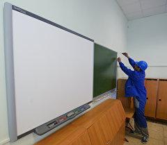 Мектеп классында ремонт иштери. Архив