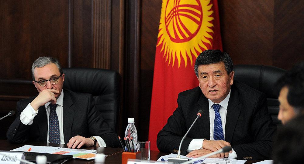 Премьер-министр Кыргызской Республики Сооронбай Жээнбеков в ходе встречи с делегацией Исполнительных советов ООН.