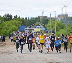Чолпон-Атада өтүп жаткан бешинчи эл аралык Run The Silk Road марафонунун катышуучулары.