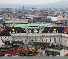Вид на город Вена, Австрия. Архивное фото