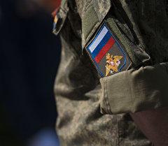 Шеврон российского военнослужащего авиабаза ОДКБ Кант. Архивное фото