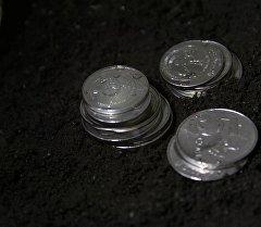 Национальные монеты Кыргызстана на почве. Архивное фото