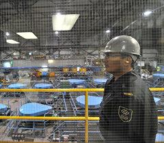 Архивное фото сотрудника на заводе по обогащению золотоносной руды добываемой на руднике Кумтор,